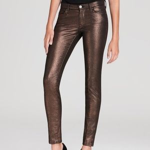 7 For All Mankind Bronze Metallic Skinny Jeans